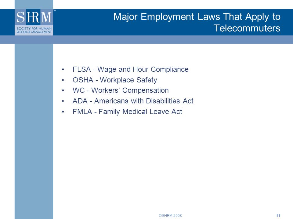 Major Employment Laws That Apply to Telecommuters