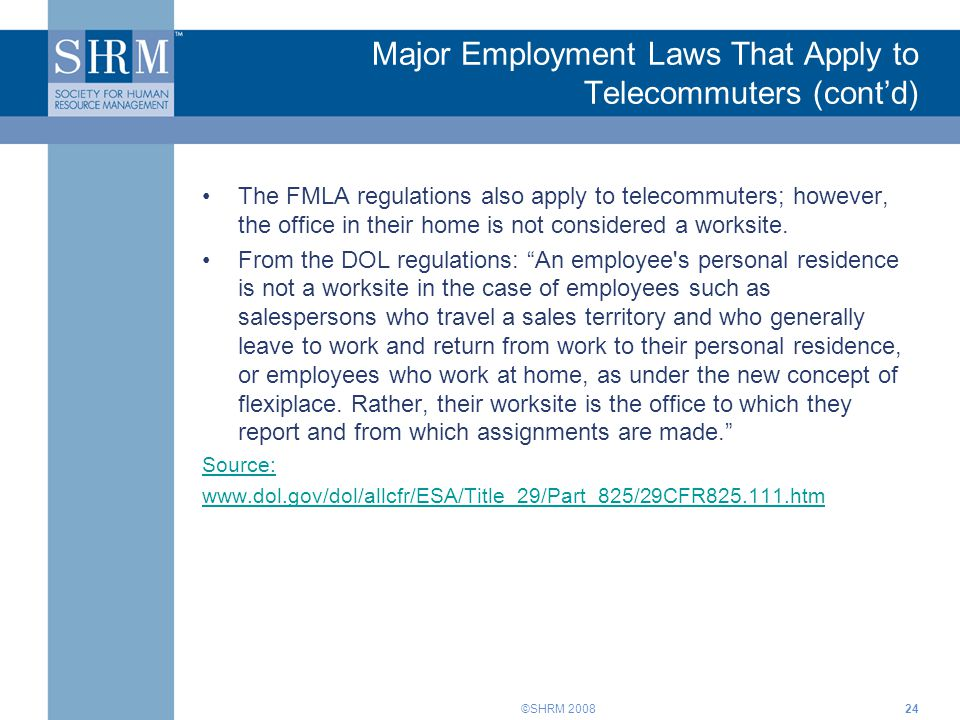Major Employment Laws That Apply to Telecommuters (cont'd)