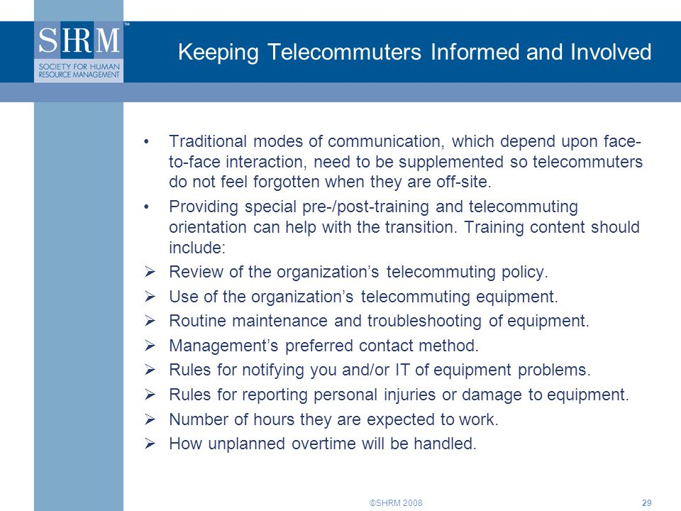 Keeping Telecommuters Informed and Involved