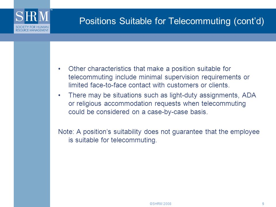 Positions Suitable for Telecommuting (cont'd)
