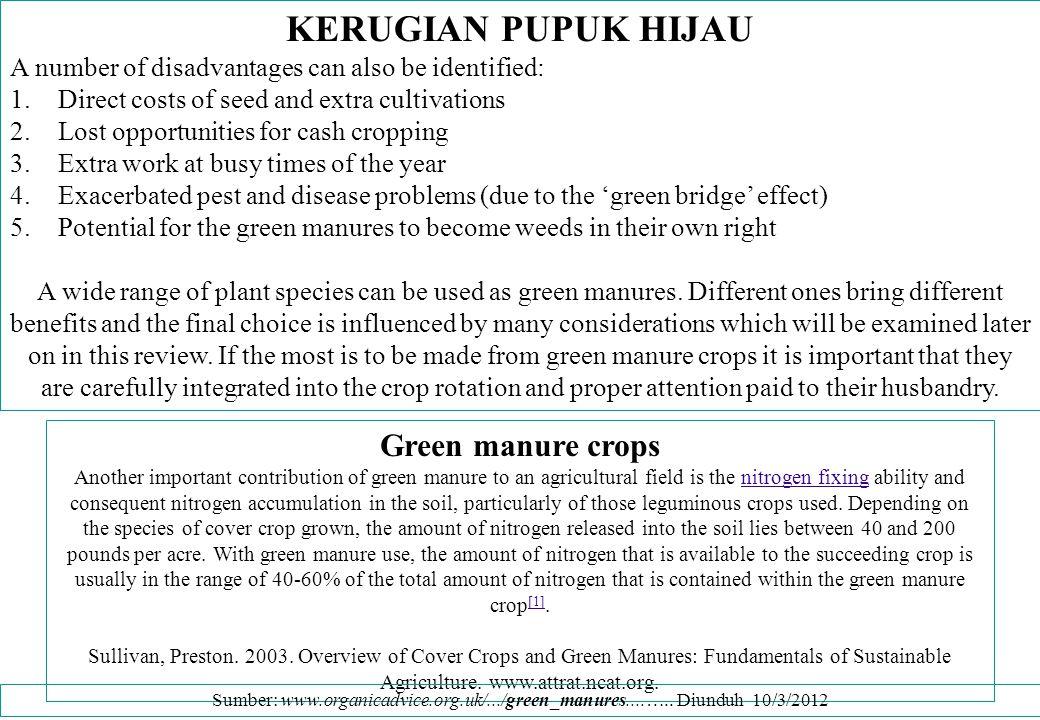 KERUGIAN PUPUK HIJAU Green manure crops