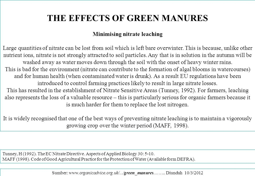 THE EFFECTS OF GREEN MANURES Minimising nitrate leaching
