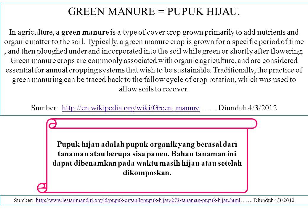 GREEN MANURE = PUPUK HIJAU.