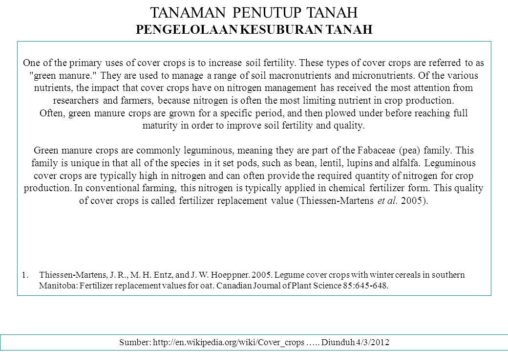 PENGELOLAAN KESUBURAN TANAH