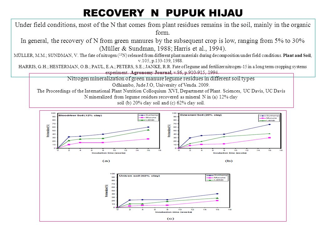 RECOVERY N PUPUK HIJAU Under field conditions, most of the N that comes from plant residues remains in the soil, mainly in the organic form.