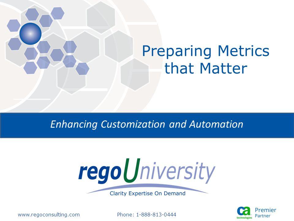 Preparing Metrics that Matter