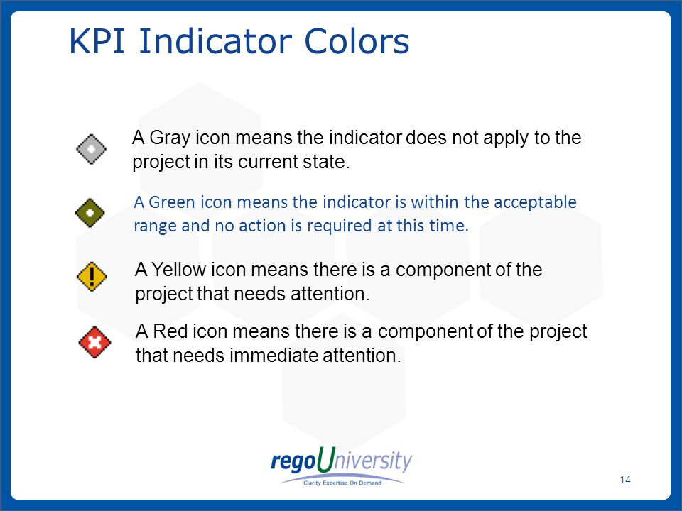 KPI Indicator Colors A Gray icon means the indicator does not apply to the project in its current state.
