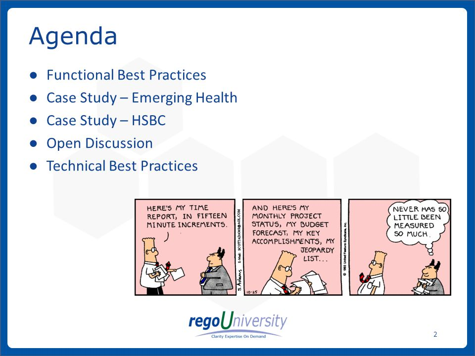 Agenda Functional Best Practices Case Study – Emerging Health