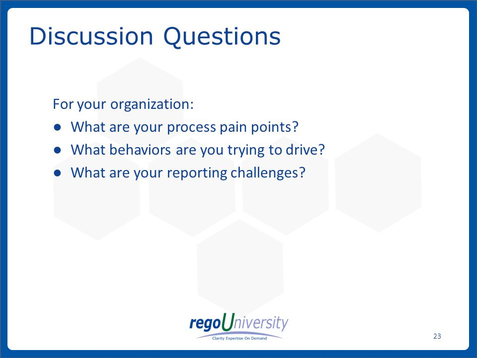 Discussion Questions For your organization: