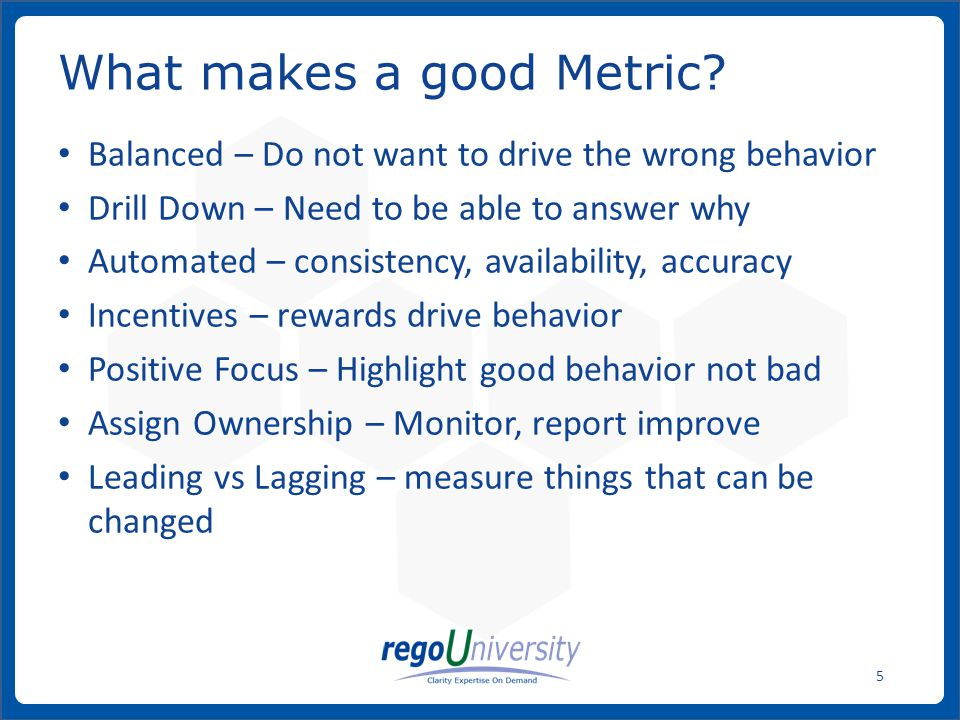 What makes a good Metric