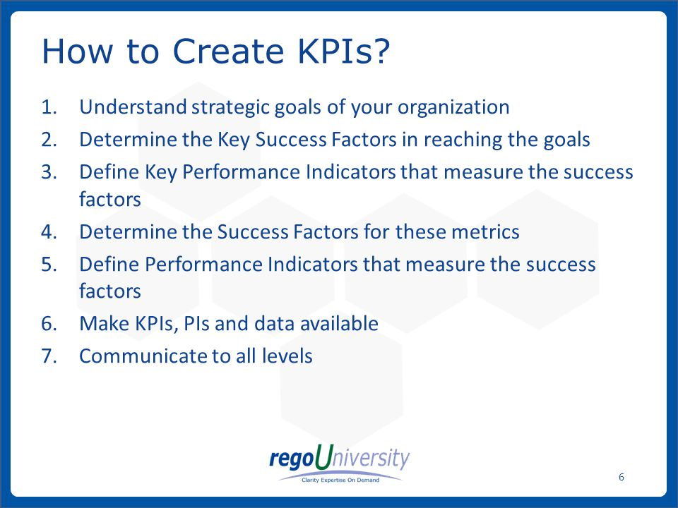 How to Create KPIs Understand strategic goals of your organization