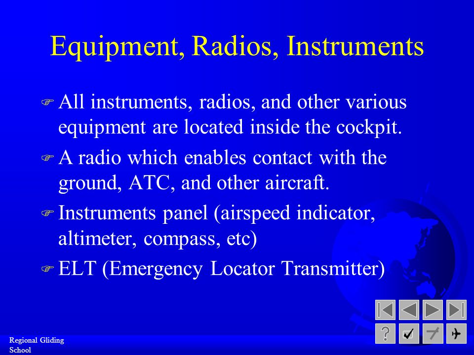 Equipment, Radios, Instruments