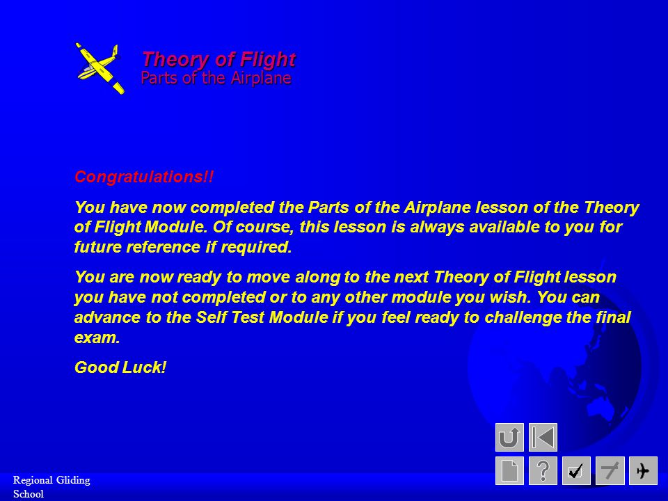 Theory of Flight Parts of the Airplane Congratulations!!