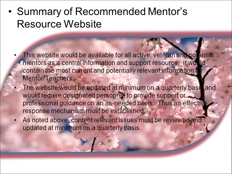 Summary of Recommended Mentor's Resource Website