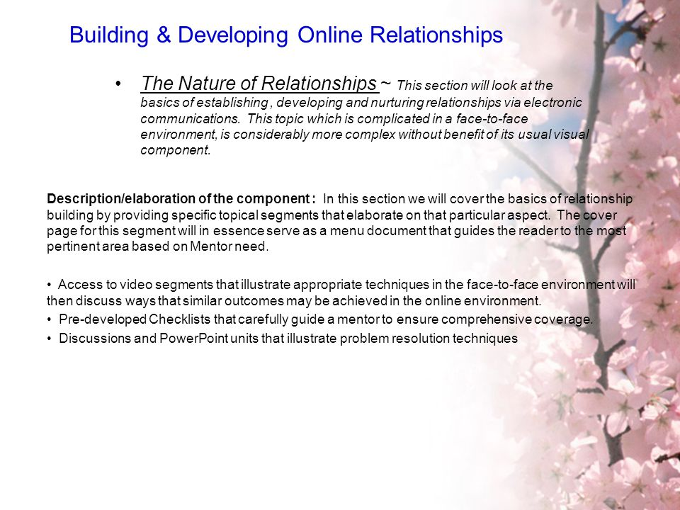 Building & Developing Online Relationships