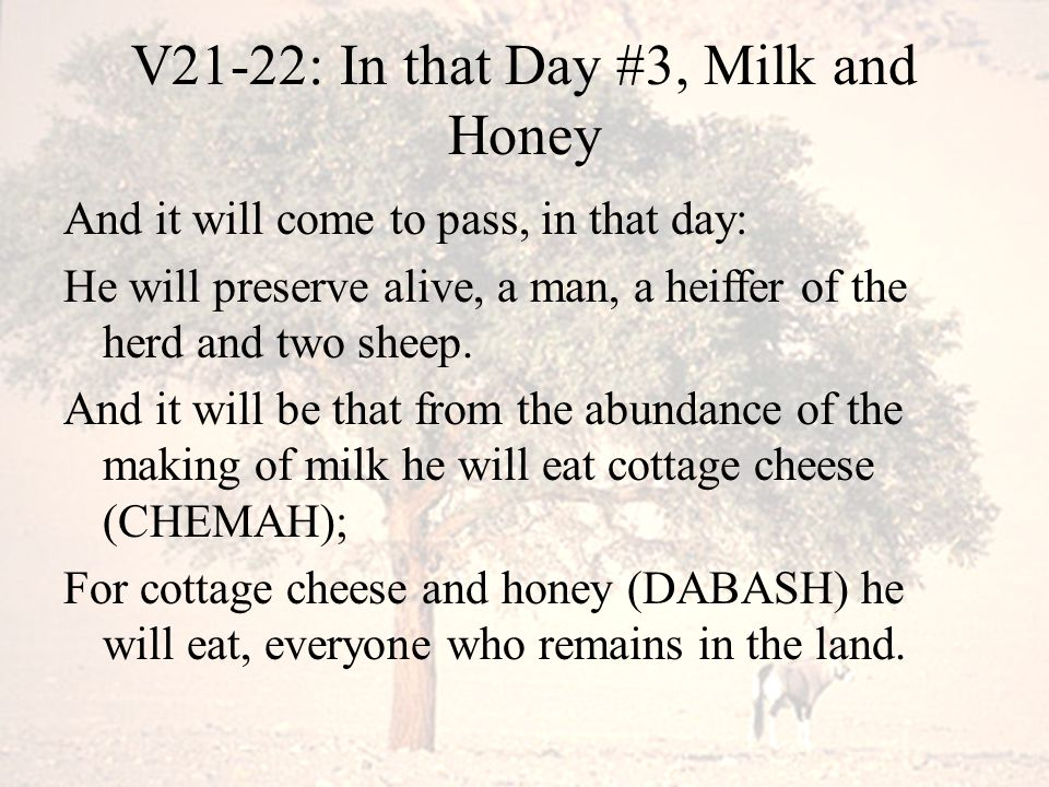 V21-22: In that Day #3, Milk and Honey