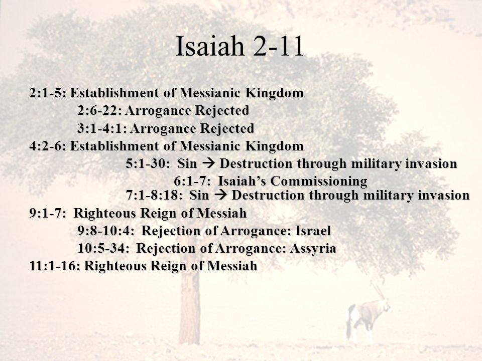 Isaiah 2-11 2:1-5: Establishment of Messianic Kingdom