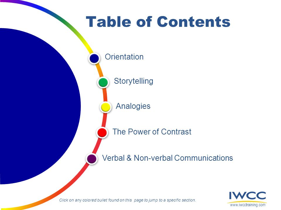 Table of Contents Orientation Storytelling Analogies