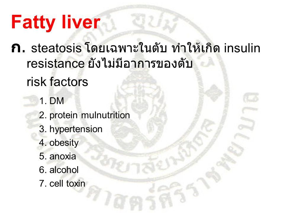 Fatty liver ก. steatosis โดยเฉพาะในตับ ทำให้เกิด insulin resistance ยังไม่มีอาการของตับ. risk factors.