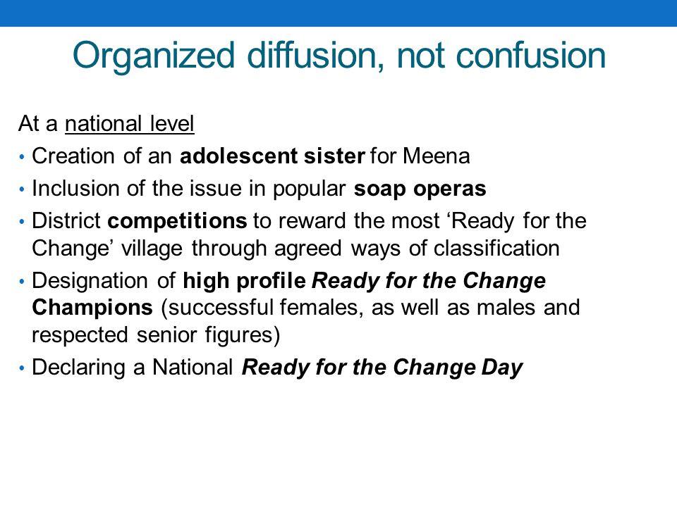 Organized diffusion, not confusion