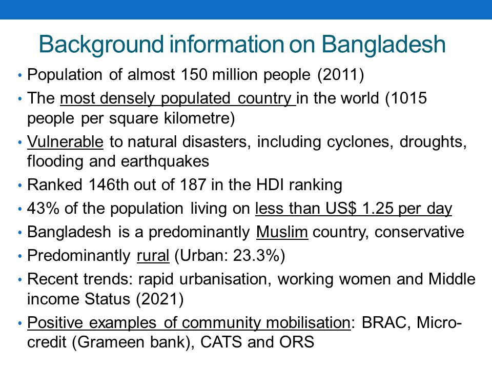 Background information on Bangladesh