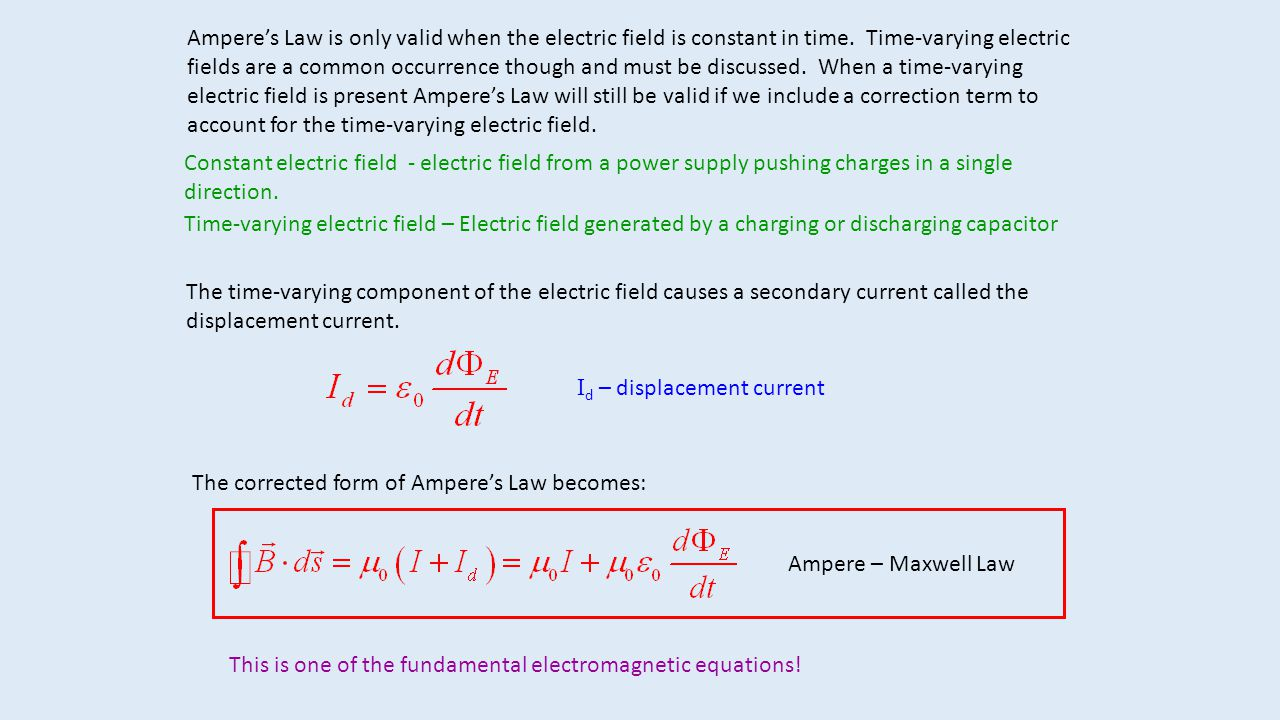 Ampere's Law is only valid when the electric field is constant in time