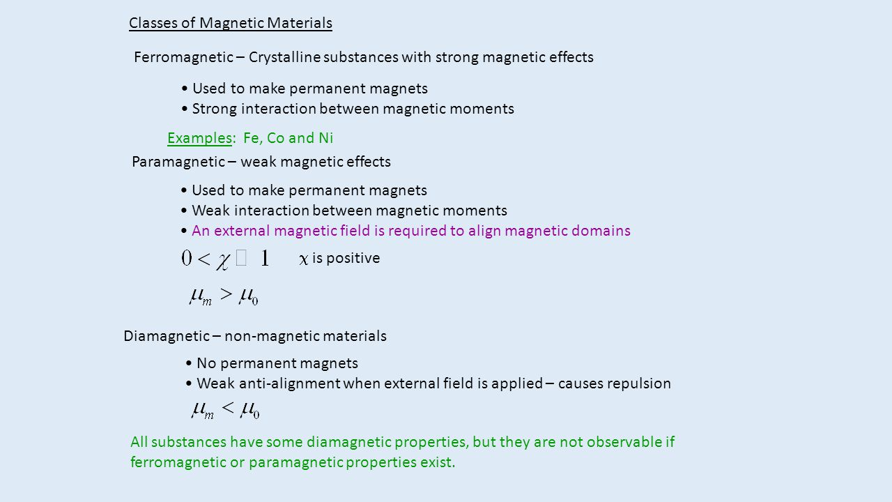 Classes of Magnetic Materials