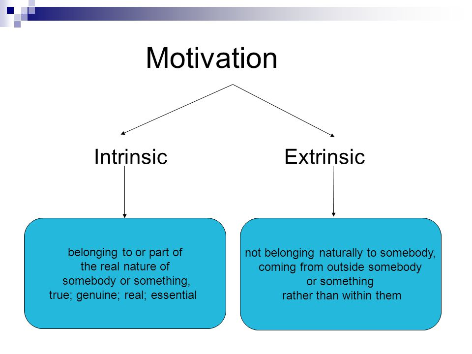 Motivation Intrinsic Extrinsic belonging to or part of