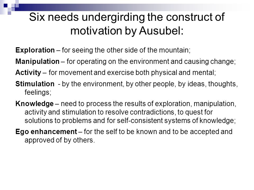Six needs undergirding the construct of motivation by Ausubel: