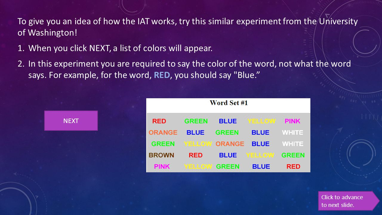 When you click NEXT, a list of colors will appear.