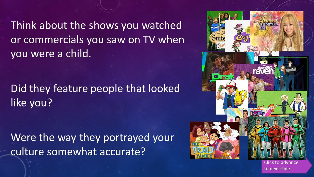 Think about the shows you watched or commercials you saw on TV when you were a child. Did they feature people that looked like you Were the way they portrayed your culture somewhat accurate