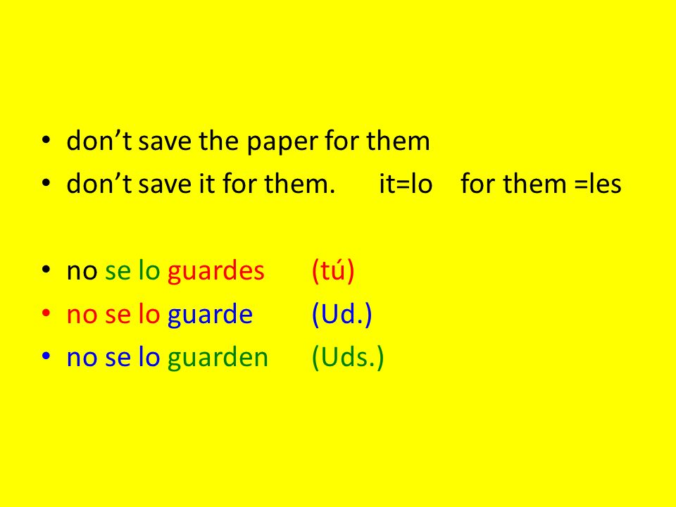 don't save the paper for them