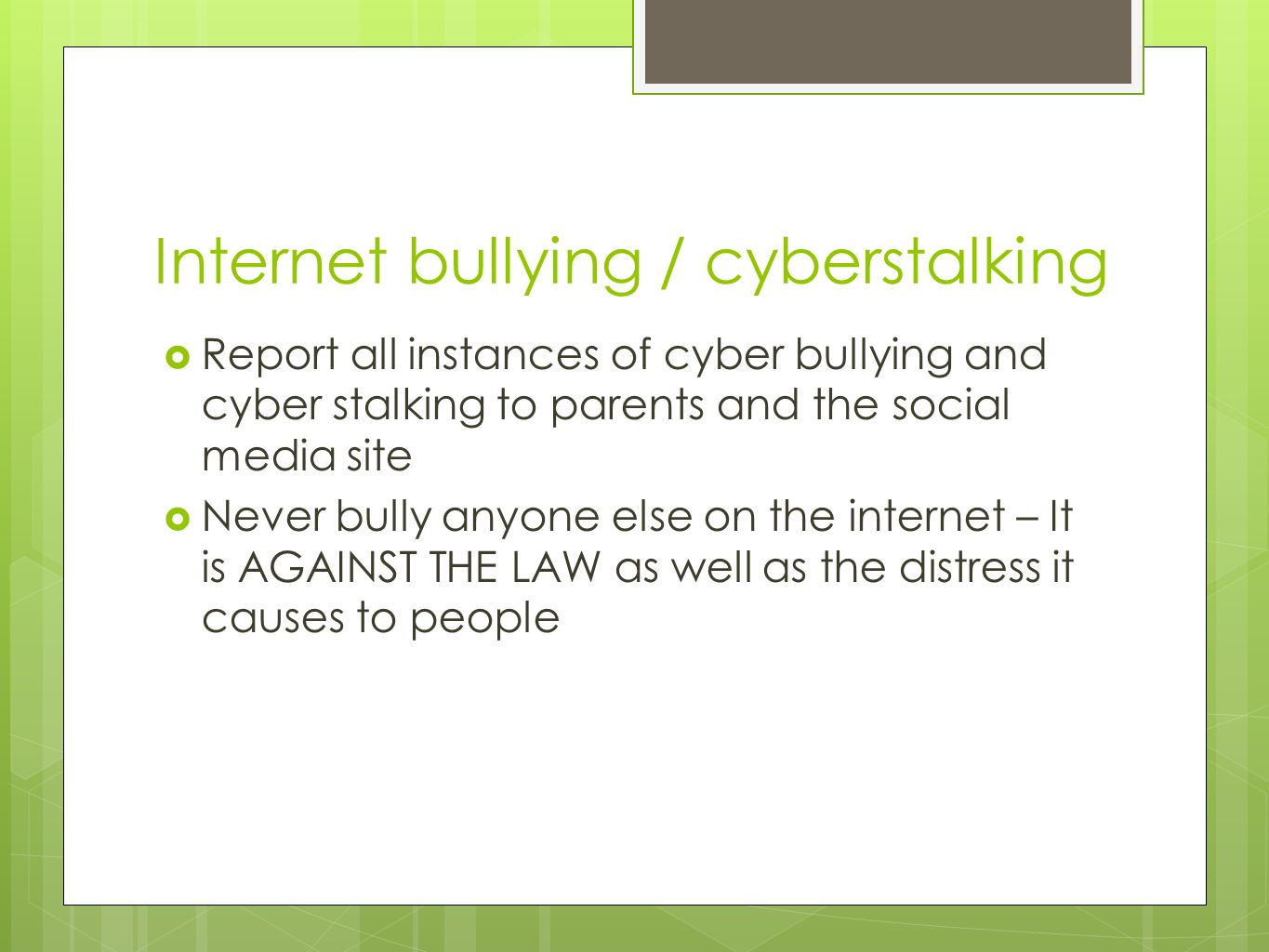 Internet bullying / cyberstalking