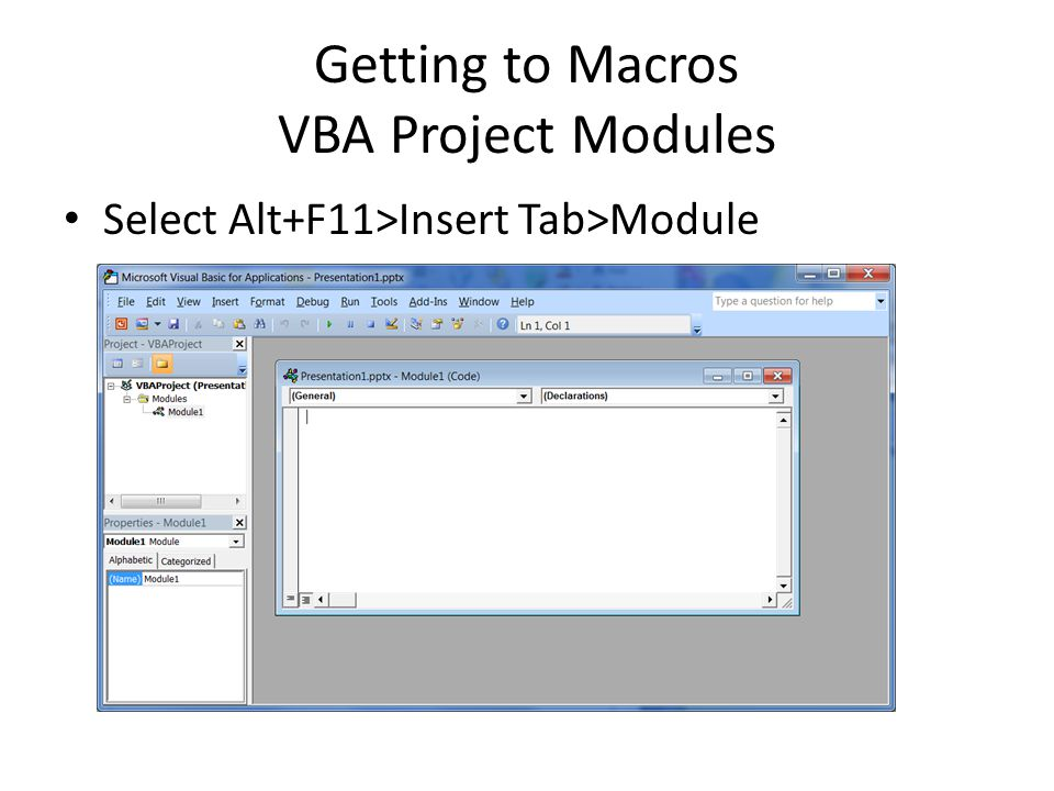 Getting to Macros VBA Project Modules