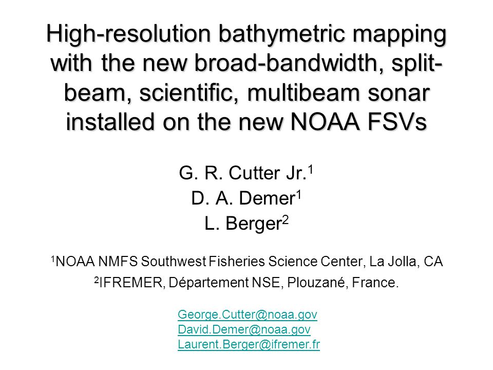High-resolution bathymetric mapping with the new broad-bandwidth, split-beam, scientific, multibeam sonar installed on the new NOAA FSVs