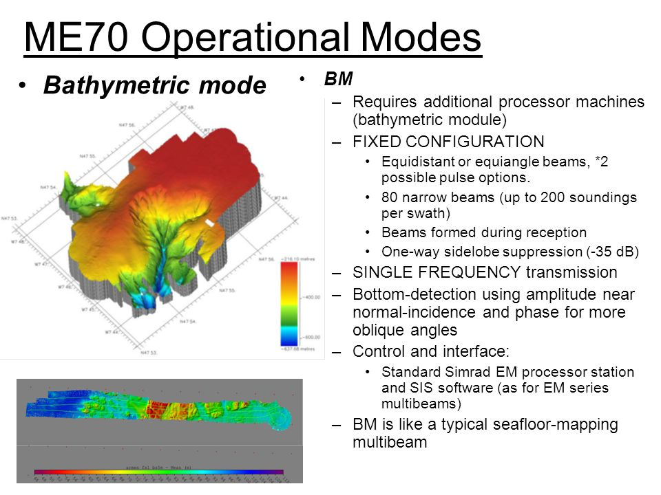 ME70 Operational Modes Bathymetric mode BM