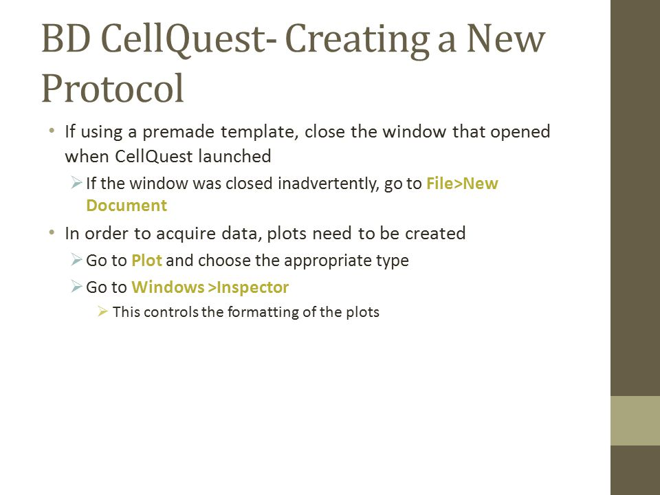BD CellQuest- Creating a New Protocol