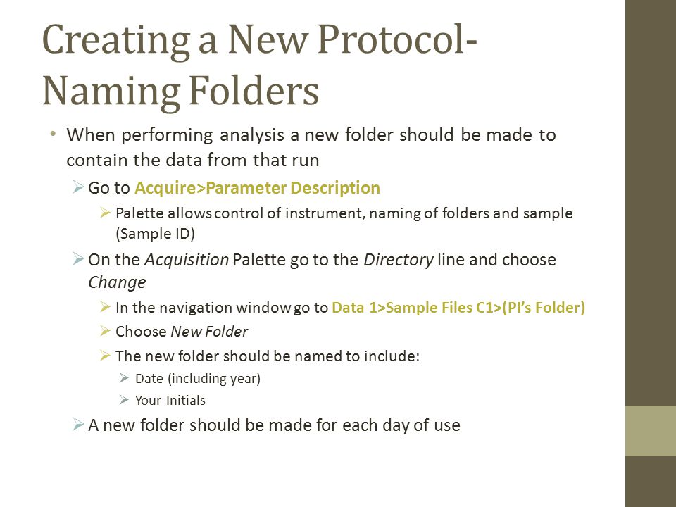 Creating a New Protocol- Naming Folders