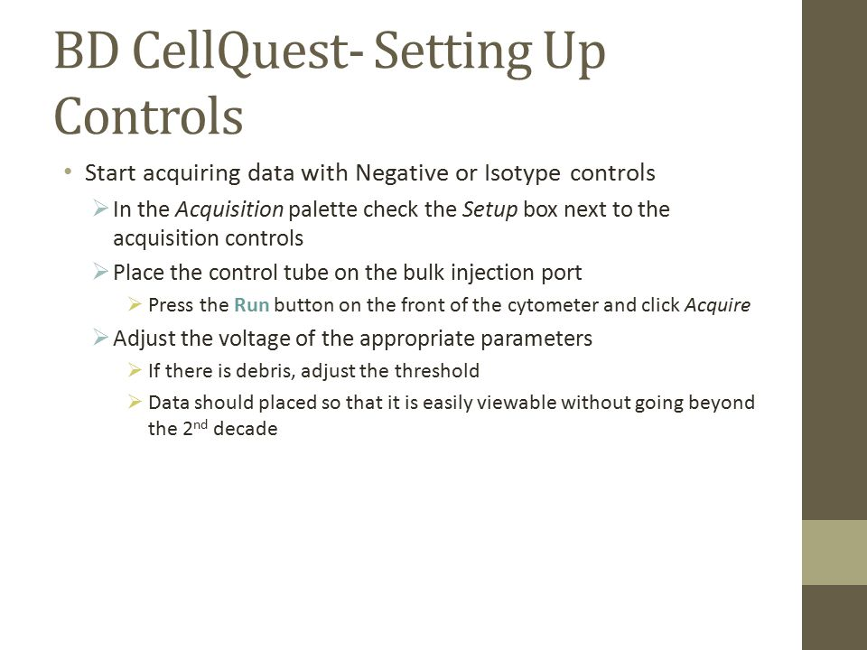 BD CellQuest- Setting Up Controls