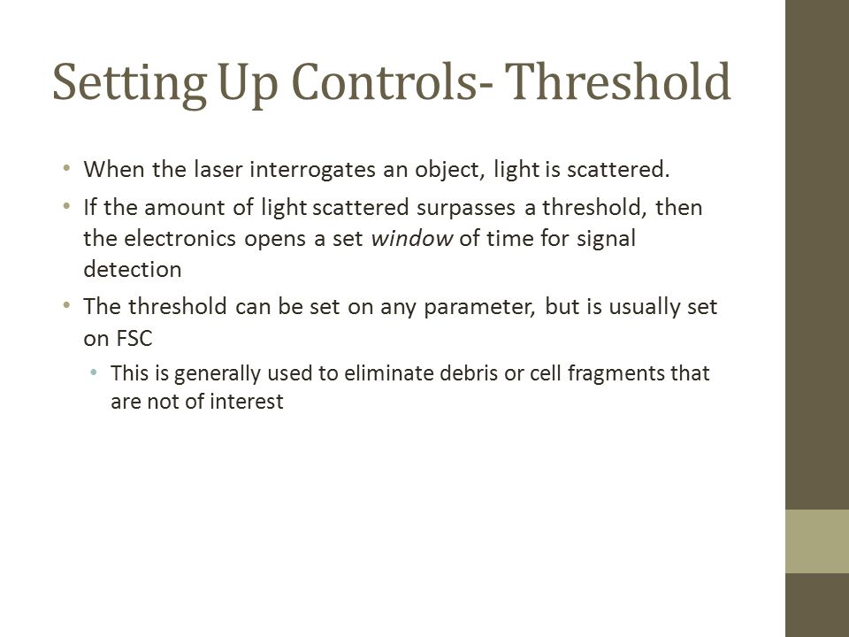 Setting Up Controls- Threshold
