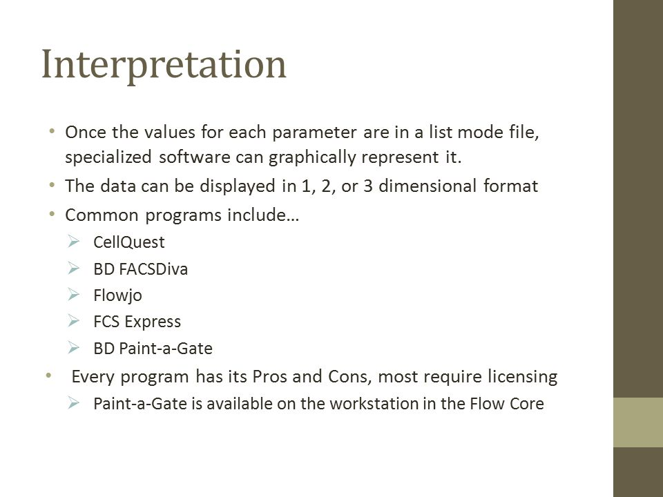 Interpretation Once the values for each parameter are in a list mode file, specialized software can graphically represent it.