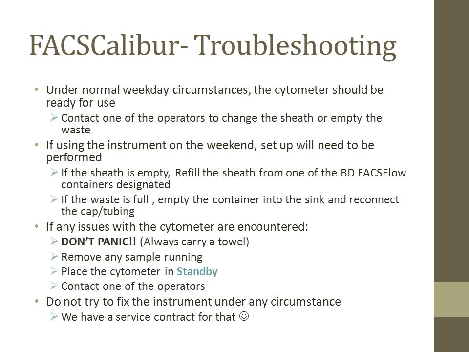 FACSCalibur- Troubleshooting