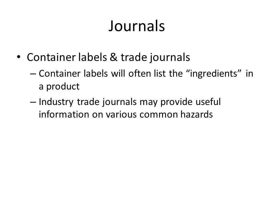 Journals Container labels & trade journals
