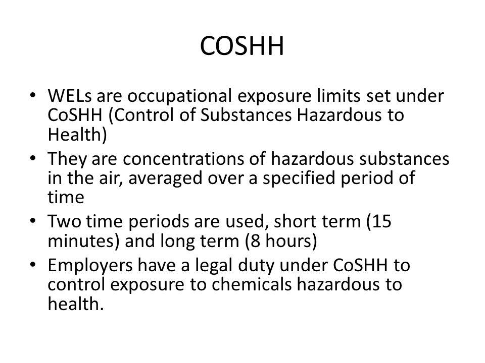 COSHH WELs are occupational exposure limits set under CoSHH (Control of Substances Hazardous to Health)