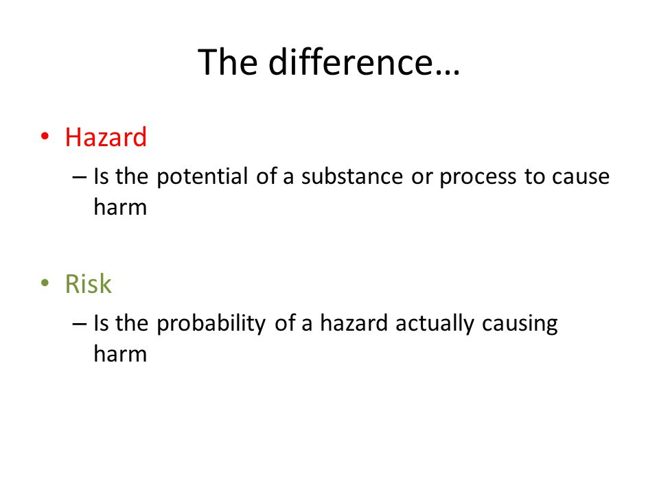 The difference… Hazard Risk