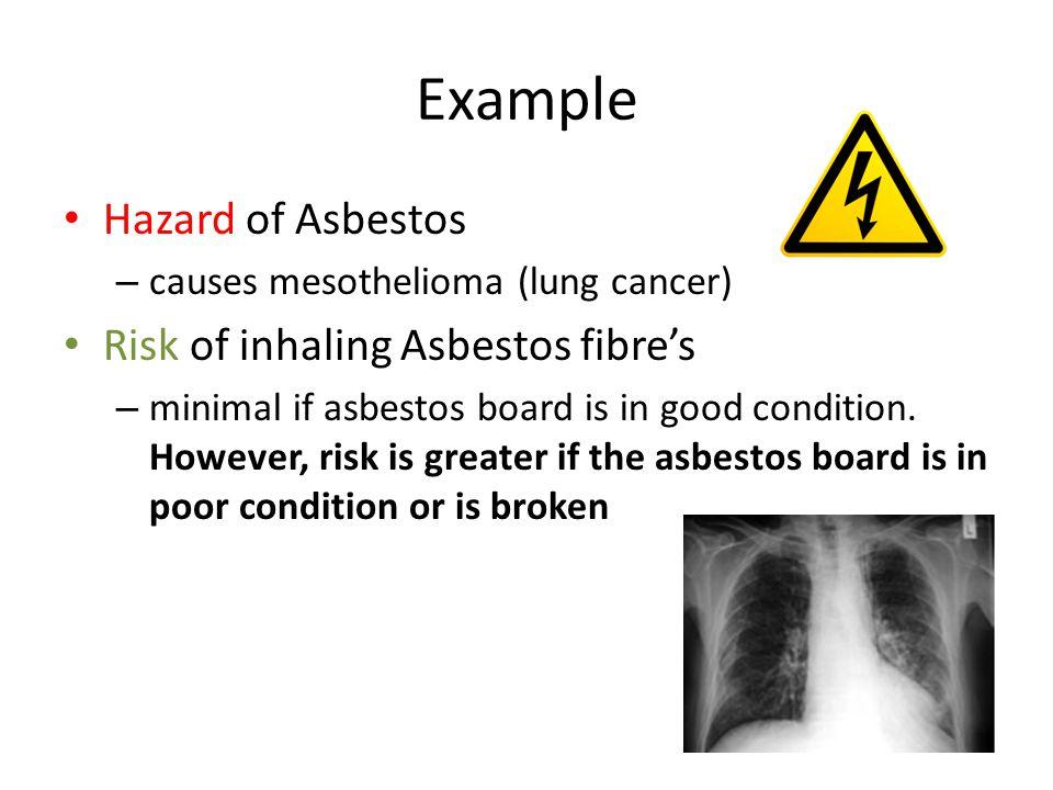 Example Hazard of Asbestos Risk of inhaling Asbestos fibre's
