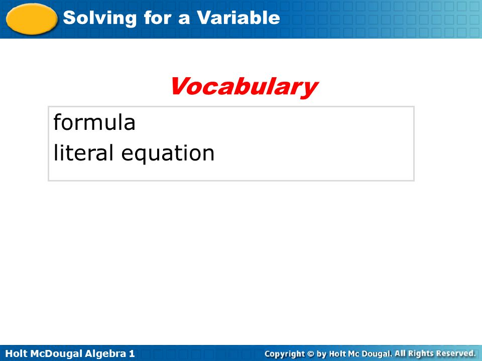 Vocabulary formula literal equation