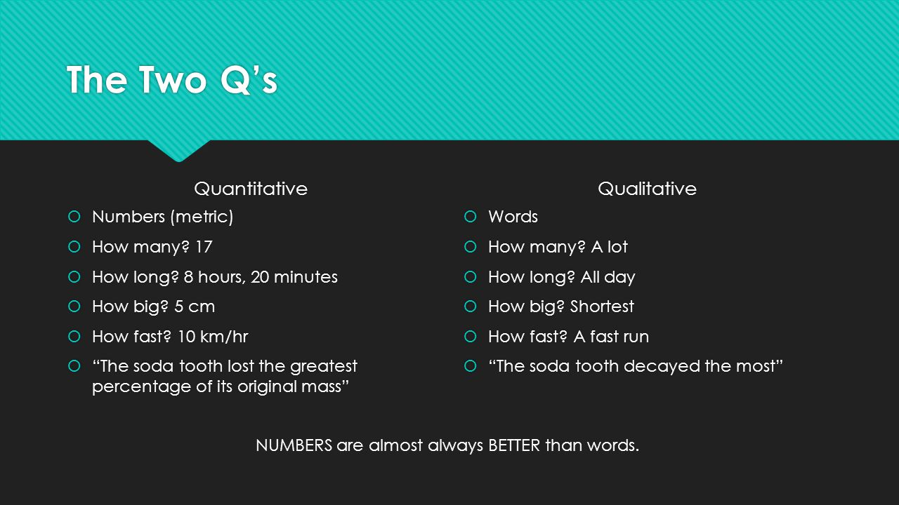 The Two Q's Quantitative Qualitative Numbers (metric) How many 17