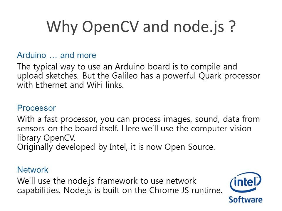 Why OpenCV and node.js
