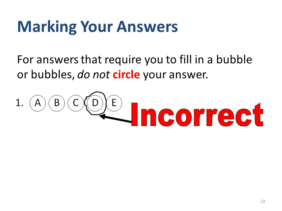Marking Your Answers Incorrect